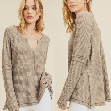 Taupe waffle top