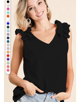 Black ruffle tank top