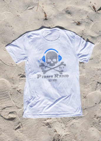 Light Grey Short Sleeve T-Shirt w/ Blue Headphones #1002