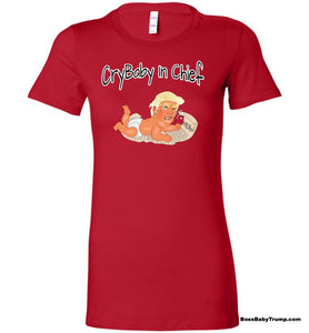 Women's CryBaby In Chief Baby Trump Tee - White Outline