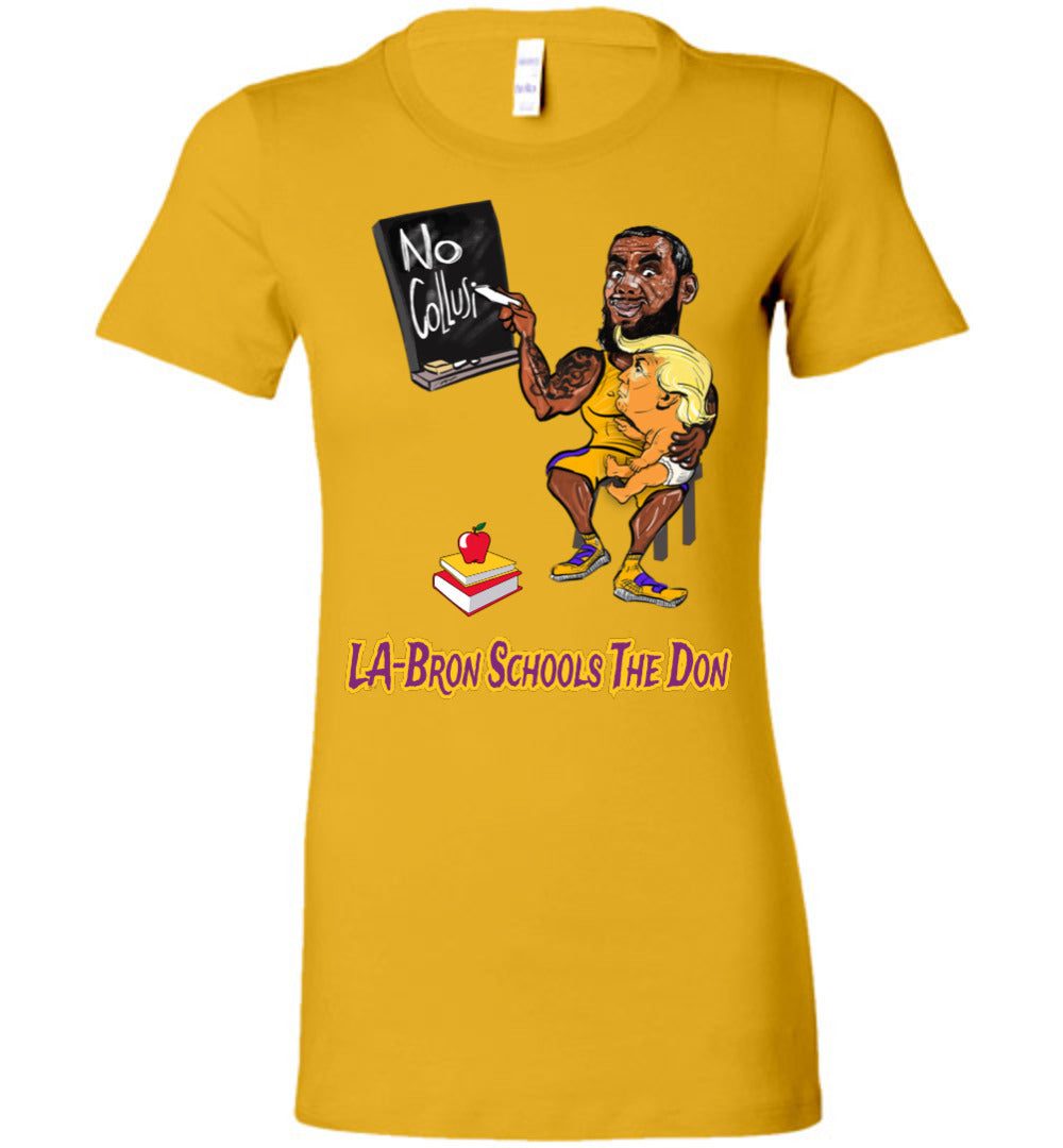 Women's LA-Bron Schools The Don Gold Tee - Purple w Gold Outline