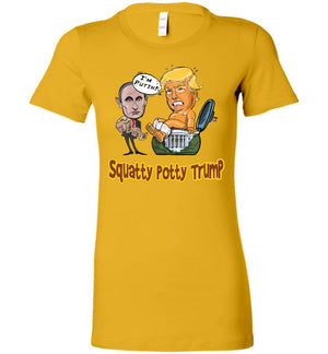 Women's Squatty Potty Baby Trump Tee - Gold & Brown