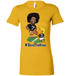 Women's Gold Bend The Knee Kaep Tee - Black w White Outline