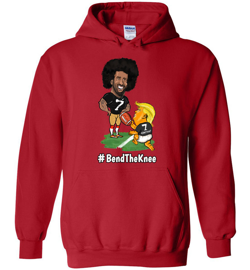 #Bend The Knee Kaep Hoodie - White w Black Outline