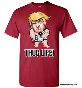 Thug Life Baby Trump Tee - Regular Font White Outline