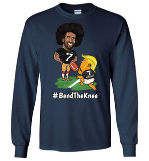 #Bend The Knee Kaep Long Sleeve Tee - White w Black Outline