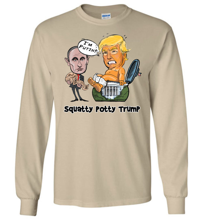 Squatty Potty Trump Long Sleeve Tee - White Outline
