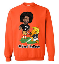 #Bend The Knee Kaep Crewneck Sweatshirt - Black w White Outline