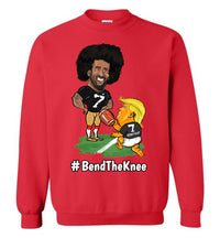 #Bend The Knee Kaep Crewneck Sweatshirt - White w Black Outline