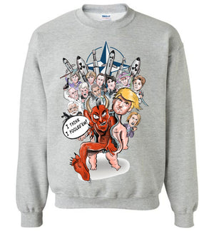 Devil Baby Trump Destroys NATO Crewneck Sweatshirt