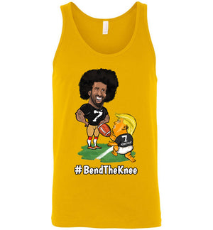 #Bend The Knee Kaep Tank - White w Black Outline