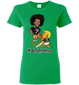 Women's #Bend The Knee Kaep Tee - Black w White Outline