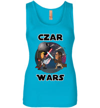 Women's Czar Wars Tank - Black w White Outline