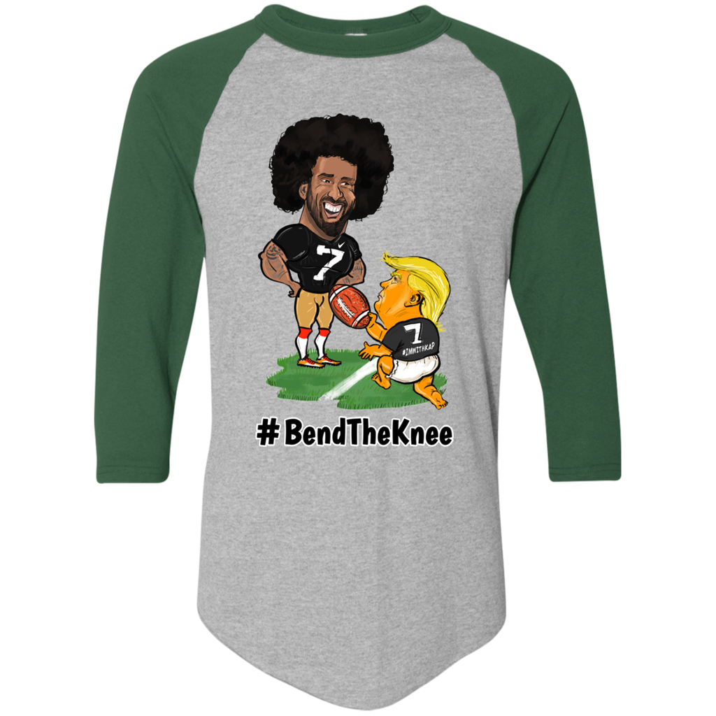 #Bend The Knee Kaep Baseball Tee - Black w White Outline