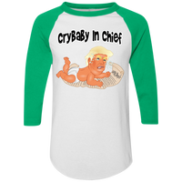 Crybaby in Chief Baby Trump Baseball Tee - White Outline