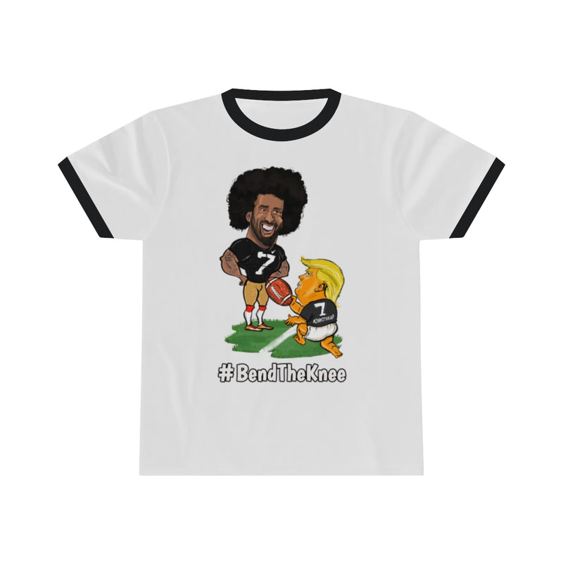 #Bend The Knee Kaep Ringer Tee - White w Black Outline
