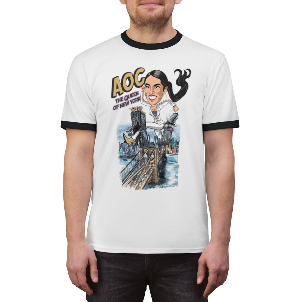 AOC The Queen of New York Ringer Tee