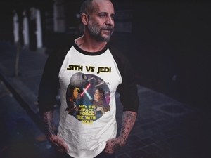 Sith vs Jedi Baseball Tee - Black & Gold Font