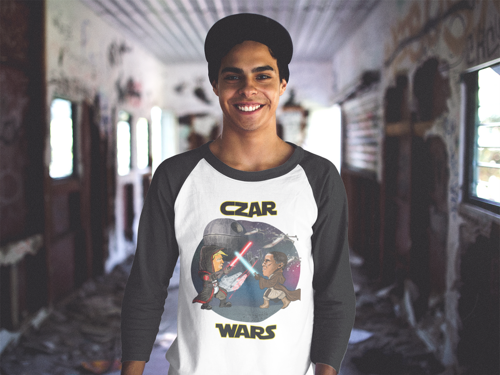 Czar Wars Baseball Tee - Gold Outline