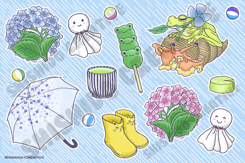 4x6 Tsuyu Frog Rainy Season Sticker Sheet  [secret shop]