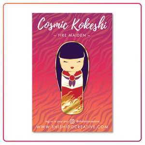 Kawaii Kokeshi Fire Maiden Enamel Pin