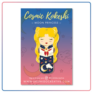 Kawaii Kokeshi Moon Princess Enamel Pin