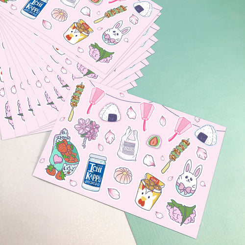 4x6 Hanami Sakura Vinyl Sticker Sheet [secret shop]