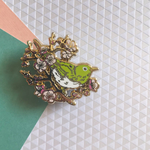 Ume to Mejiro (Plum & White-Eye) Bird Enamel Pin