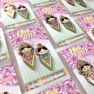 Hina Matsuri Doll Girl's Day Enamel Pin Set