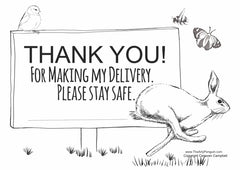 Free download printable Thank you sign for Royal Mail couriers and delivery drivers
