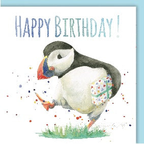 puffin sea bird birthday card Ceinwen Campbell