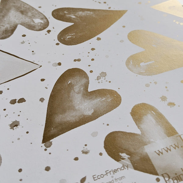 Hearts  Metallic Gold Recyclable Wrapping Paper