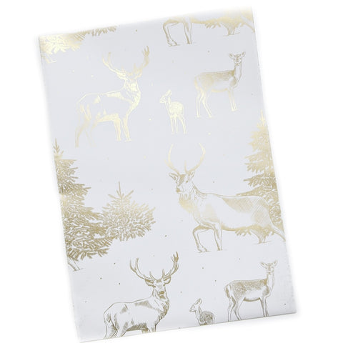 Stag and Deer  Metallic Gold Recyclable Wrapping Paper
