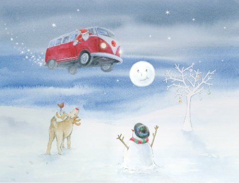 Pack of 10 VW Split Flying Inspired Christmas Cards