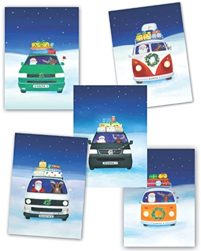 Camper van Christmas Christmas 2015 cards; mixed pack of 10 T1, T2, T25, T4 and T5