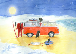 Split windscreen Campervan Inspired Christmas Cards with surfing penguins