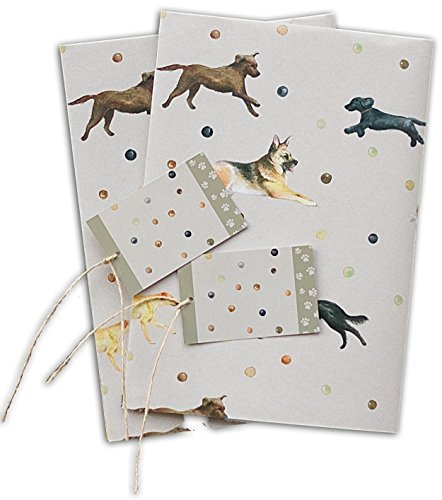 Dogs Wrapping Paper; Alsation, Border Collie, Spaniel, Labrador