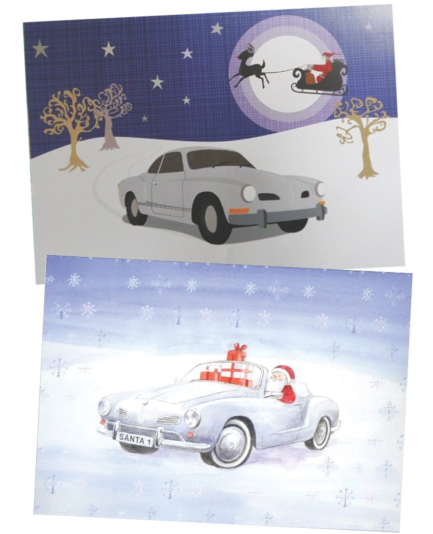 Karmann Ghia CHristmas cards multi pack by Ceinwen Campbell and The Arty Penguin