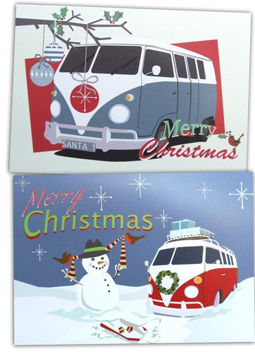 retro Campervan Christmas cards by Ceinwen Campbell and The Arty Penguin
