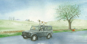 Defender 4 x 4 off roader and dog birthday blank greeting card by Ceinwen Campbell and The Arty Penguin