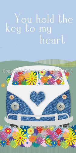 campervan camper  birthday valentine greeting card by Ceinwen Campbell and The Arty Penguin