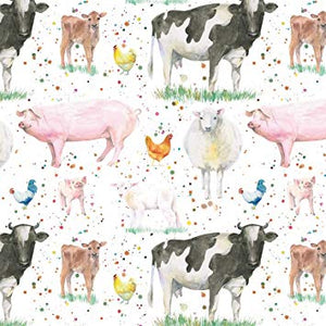 Farm yard gift wrapping paper with cows sheep pigs and chickens Ceinwen Campbell The Arty Penguin