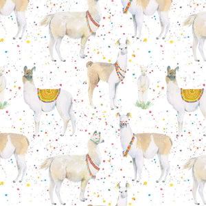 Llama birthday gift wrapping paper by Ceinwen Campbell at The Arty penguin