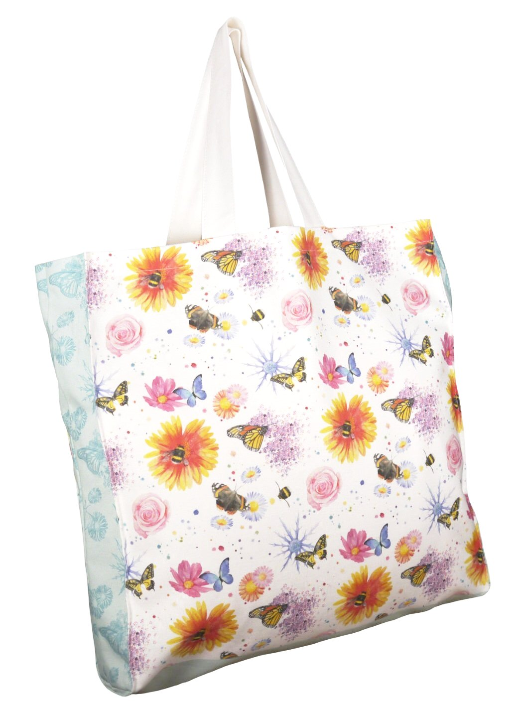 Flowers butterflies and bees shopping tote bag