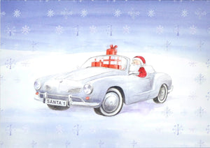 Karmann Ghia inspired Christmas cards; mixed pack of 10