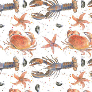 Lobster, crab, star fish mussels ocean beach gift wrapping paper by ceinwen Campbell from The Arty Penguin