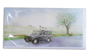 Defender off roader 4 x 4 Greeting Card with labrador, spaniel, collie and pheasant