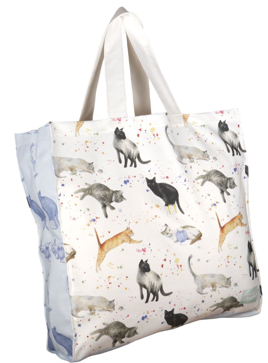 Cats and kitten watercolour painting tote shopping canvas bag