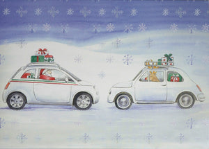 Fiat 500 inspired Christmas cards pack of 10 single design