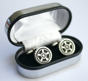 Alloy Wheel Cufflinks; hand crafted pewter men's gift